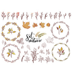 autumn set of fall themed circle shaped frames vector image