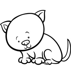 cute kitten cartoon coloring page vector image vector image