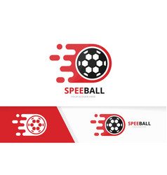 fast soccer logo combination speed ball vector image vector image