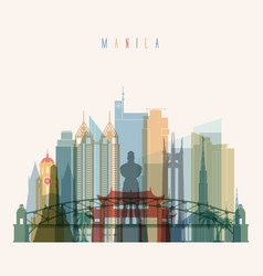 manila skyline detailed silhouette vector image vector image