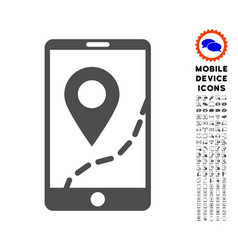 mobile map navigation icon with set vector image vector image