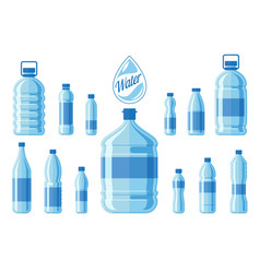 plastic water bottle set isolated on white vector image