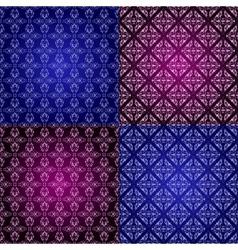Set filigree damask seamless patterns vector image