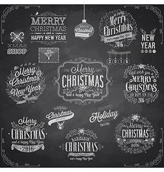 Set of Christmas emblems - Chalkboard vector image vector image