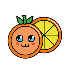 color kawaii cute orange icon vector image