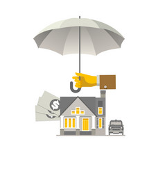 hand with umbrella that protects house money and vector image