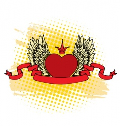 heart ribbon vector image vector image