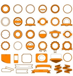 Set of sale badges labels and stickers in orange vector image vector image