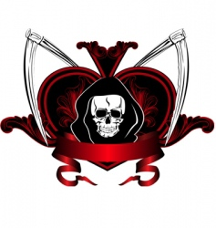 skull and plaits vector image vector image