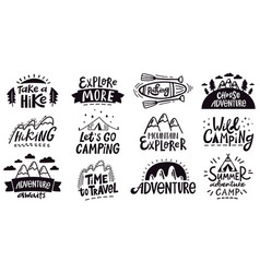 Adventure quote lettering outdoor camping vector