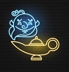 Aladdin and magic lamp neon genie vector