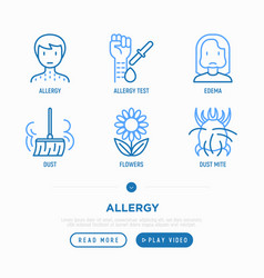 Allergy thin line icons set dust dust mite vector
