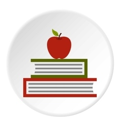 Apple and books icon flat style vector image
