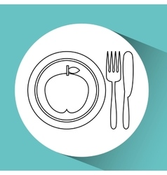 Apple food health cutlery vector