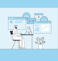 Arab businessman working with laptop in office vector