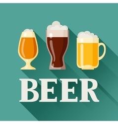 Background design with beer glass mug and goblet vector