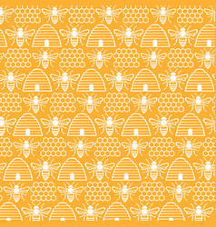 Background pattern with bees and hives vector