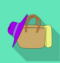 Beach bag with hatsummer rest single icon in flat vector