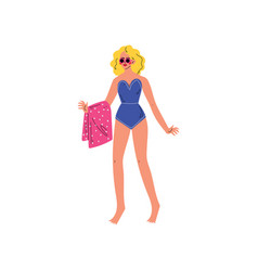 beautiful girl in blue swimsuit and sunglasses vector image