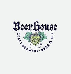 Beer house logo brewing company pub label vector