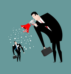 boss screams megaphone to manager to give orders vector image