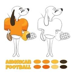 cartoon dog playing American football vector image vector image