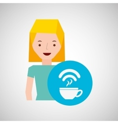 cartoon girl coffee internet design vector image