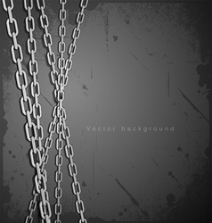 Chain stainless steel on grunge background vector image