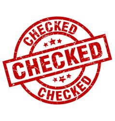 Checked round red grunge stamp vector