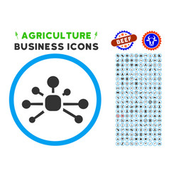 connection relations rounded icon with set vector image