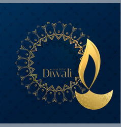 Creative diwali background with diya and text vector