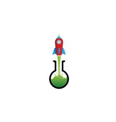 Creative red rocket green beaker logo vector