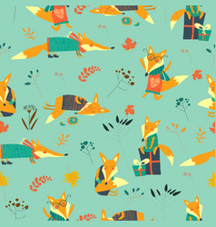 cute foxes seamless pattern with autumn leaves vector image
