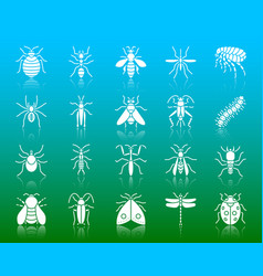 danger insect white silhouette icons set vector image