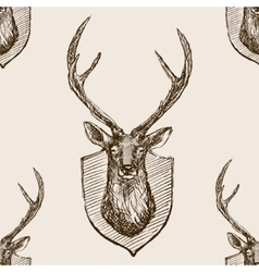 Deer head trophy sketch seamless pattern vector image