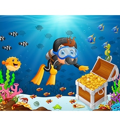 Diver under the sea vector