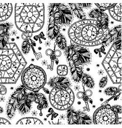 dream catcher boho style seamless pattern vector image