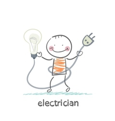Electrician holding a light bulb vector