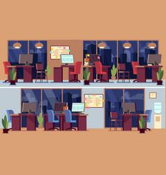 empty office interior night business interiors vector image