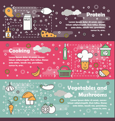 food concept flat line art banner set vector image