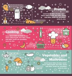 Food concept flat line art banner set vector