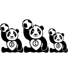 funny pandas winners with balls vector image