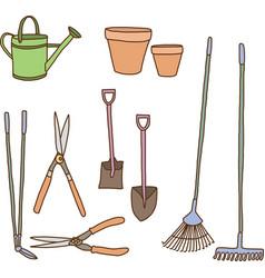 Garden tools collection vector image