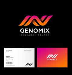 Genomix research center logo da logo business card vector