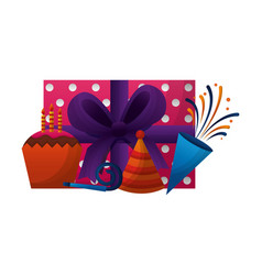 Gift box present with cupcake and accessories of vector