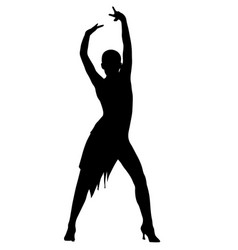 girl latin dancer pose silhouette vector image