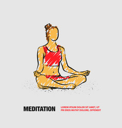 girl sitting pose meditation and relaxation vector image