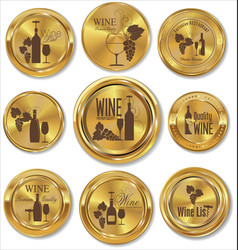 golden badges wine design vector image