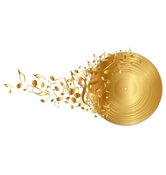 Golden vinyl record with notes vector