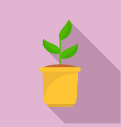 grow plant pot icon flat style vector image